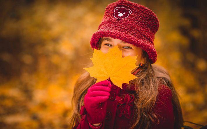 дети, ребёнок, девочка, настроение, осень, лист, клён