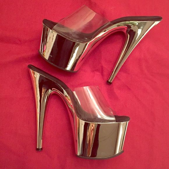 WoW Pleasers Chrome & clear Platforms, Seriously HOT heels! worn a few times, minor signs of wear, barely noticeable (reflected in price) gorgeous heels ! Heels sanitized & cleaned, Bundle & Save!