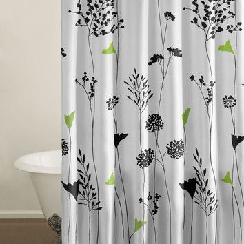 City Scene City Scene Asian Lily Cotton Shower Curtain  Doesn't anybody make this or similar in a drape for the window?