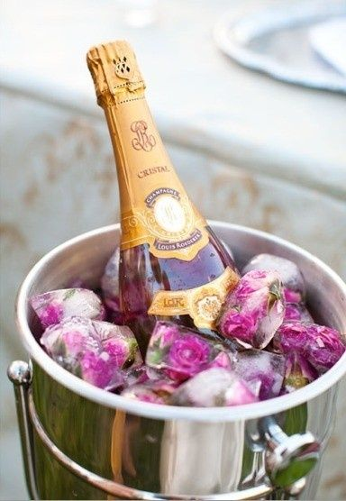 Champagne!!! Freeze roses in ice cubes to chill your favorite champagne for a romantic Valentine's Day toast.  Zippertravel.com Digital Edition