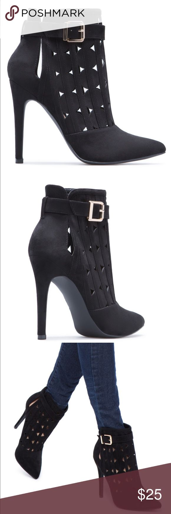 """Black high hell booties Black faux-suede high heel booties with strap. Outside heel 4.5""""  true to fit, shaft height 3.75"""".    I wore them once just to try them on and the heel was to high for me. Shoe Dazzle Shoes Ankle Boots & Booties"""