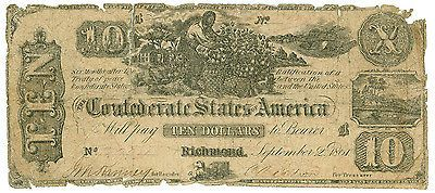 Confederate CSA T29 $10 00 1861 Enslaved man Picking Cotton Scarce Type Note | eBay