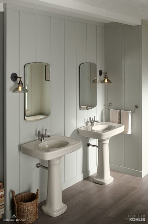 Biscuit and pastel bathroom with dark wood floors featuring Bancroft collection #CollaborationinFullColor