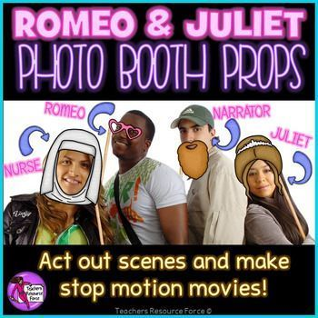 Bring Shakespeare into the 21st Century with these high quality photo booth prop masks! Photo booth props are extremely popular right now for making fun photo shoots, kids love them! Your students will love these as they can hold up funny signs to their faces while learning about Romeo & Juliet - they will be sure to remember this lesson with you!These are extremely versatile and fun for students of any age who are learning about Romeo & Juliet.