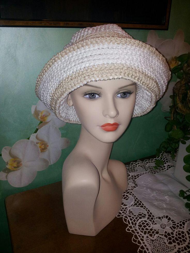 Cappello uncinetto estivo in cotone 100% (panna/beige)