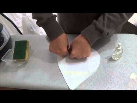 Trasferimento immagine (stampante laser) su stoffa utilizzando profumatori per ambienti, spugna imbevuta di acqua, ferro da stiro a  temperatura lana
