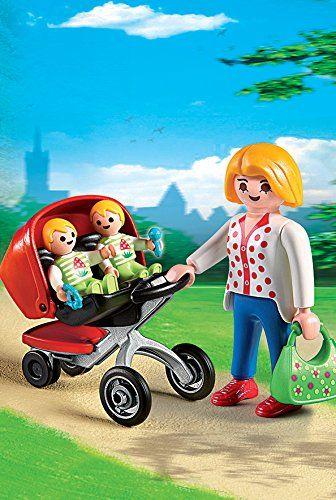 Playmobil - mamá y carrito de gemelos Playmobil Guardería - Mamá con carrito de gemelos (5573) - Juguete educativo que fomenta el juego simbólico