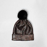 Gold foil knit bobble hat - hats - accessories - women