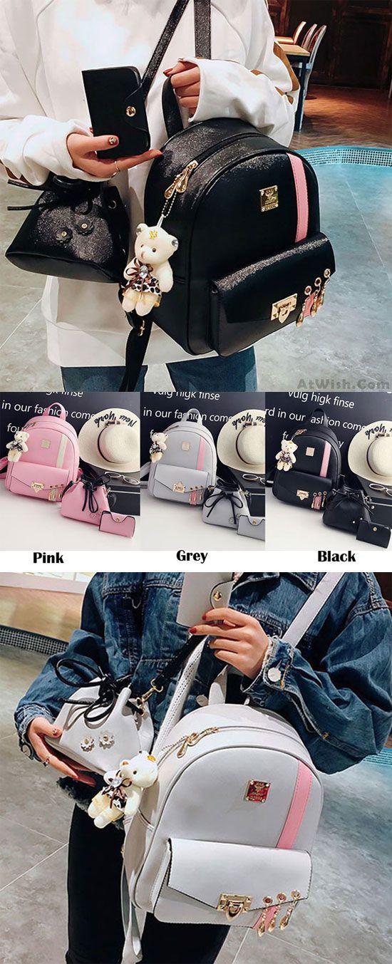 da7925201 Cute Contrast Color College Bag Fresh Pink Stripe Button School Backpack  for big sale! #school #college #stripe #pink #bag #student