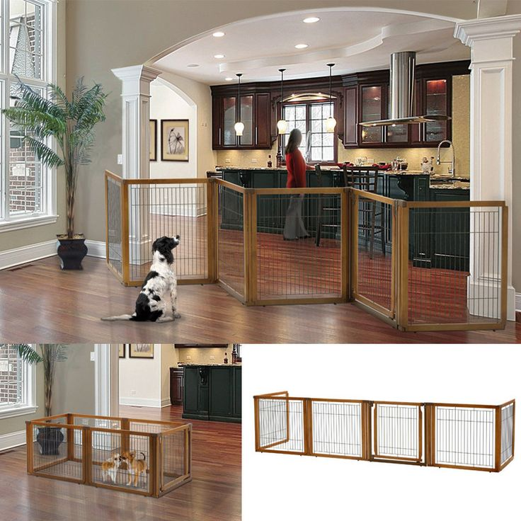 The Richell Convertible Pet Gate can span areas up to 135 inches wide to keep your dog confined. Pet containment system can be used as room divider or pet pen.