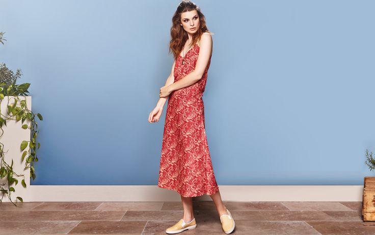 Robe longue corail a bretelle motif exotiques - Collection créateur mode femme equitable CAPRI - Myphilosophy PARIS