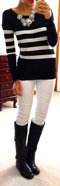Fancy necklace with a simple outfit of black & white stripes + white skinnies & boots | LBV ♥✤ | KeepSmiling | BeStayBeautiful