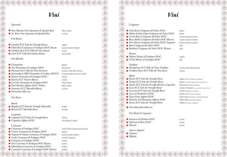 MENU CARTA  VINI | Carta dei Vini | Cucina tipica sarda