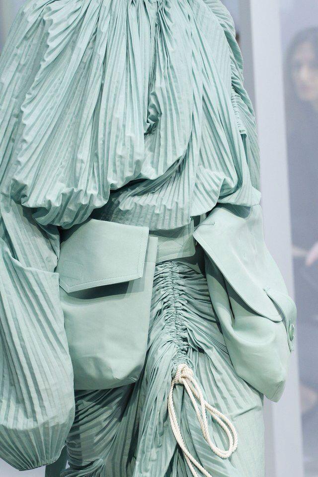 // Marni - S/S 2017 | mint pleats | pleated fabric | draped fabric details