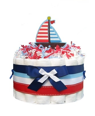 Sailboat Nautical Baby Shower Diaper cake{via all pets cherished}