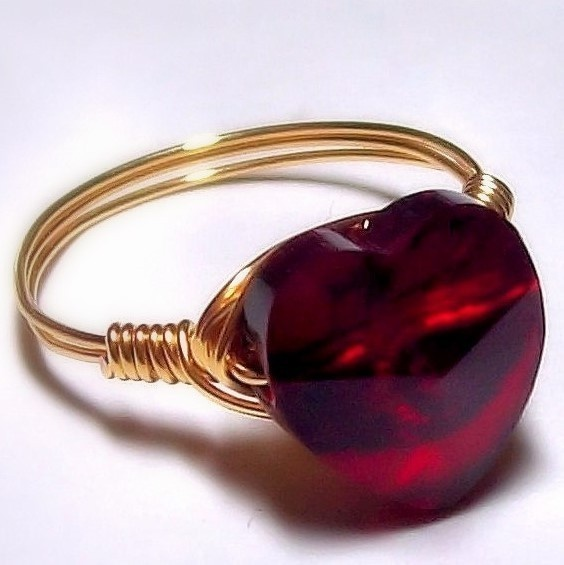 Red Swarovski Crystal Ring Heart Jewelry Wire Wrapped Gold