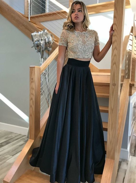 fe7600ba73 Stunning Two Piece Round Neck Short Sleeve Black Satin Long Prom Dresses  with Beading,Formal Party Dresses