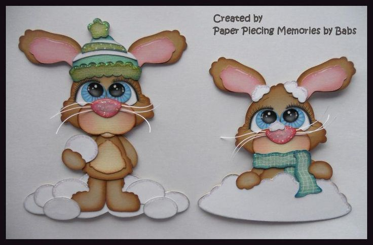 Winter Bunny Set Premade Paper Piecing Embellishment Die Cut by Babs