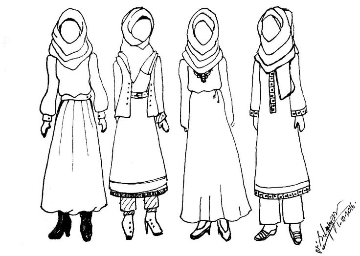 Outfit Designs: Sketched some hijab style fashion design outfits. Ink drawings.