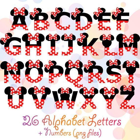 Minnie Mouse Alphabet Red Bow Dotted Numbers Letters Disney Etsy