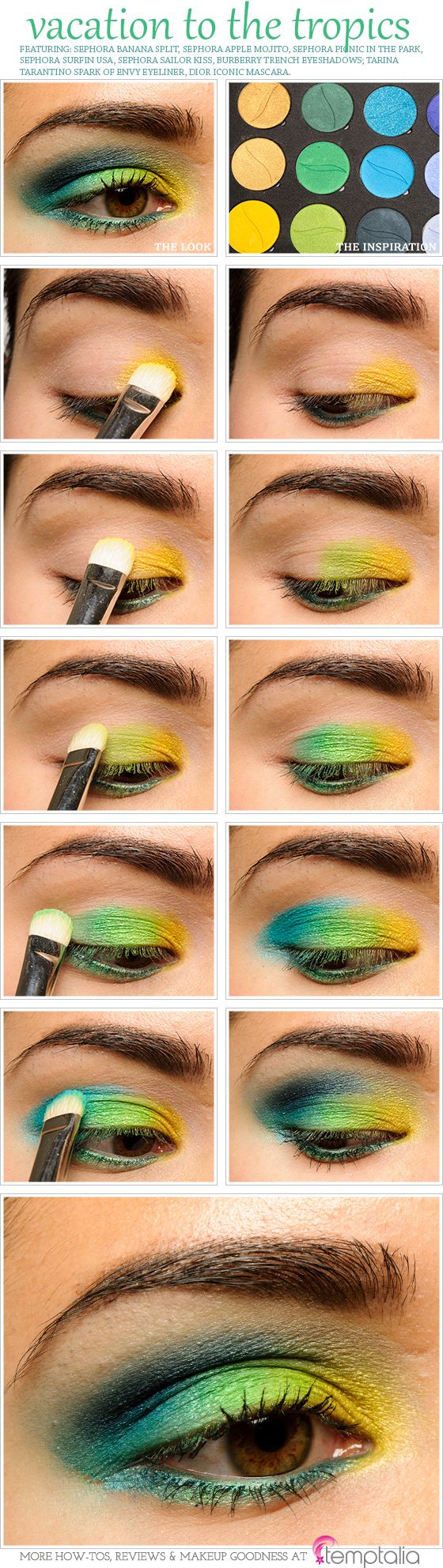 From Yellow to Green eye #makeup #diy