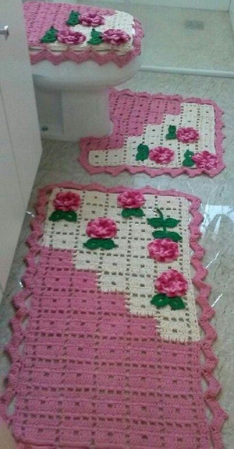 Jogo De Banheiro Quadrado Simples : Melhores imagens de quot tapetes croche para banheiro