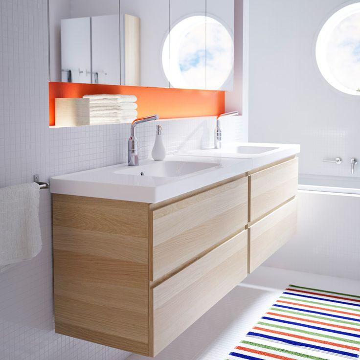 Szafka pod umywalkę GODMORGON/ODENSVIK z dwiema szufladami, dąb bejcowany na biało