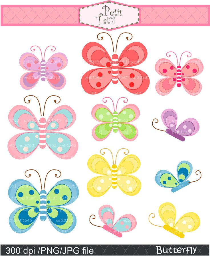 butterfly clip art - Digital clip art for all use, pink butterfly, green…