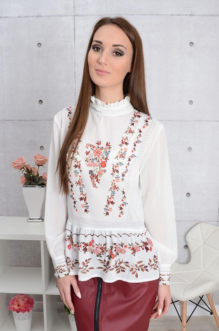 Bluzka na stójce z baskinką w kwiaty kremowa