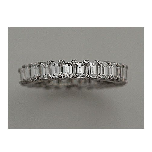 Estate 18kt White Gold Emerald Cut Diamond Eternity Wedding Band. Stunning!