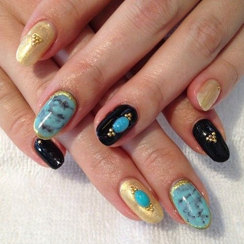 Mystical Gothy Turquoise Nails #gel #nailart  (at Hey, Nice Nails!)
