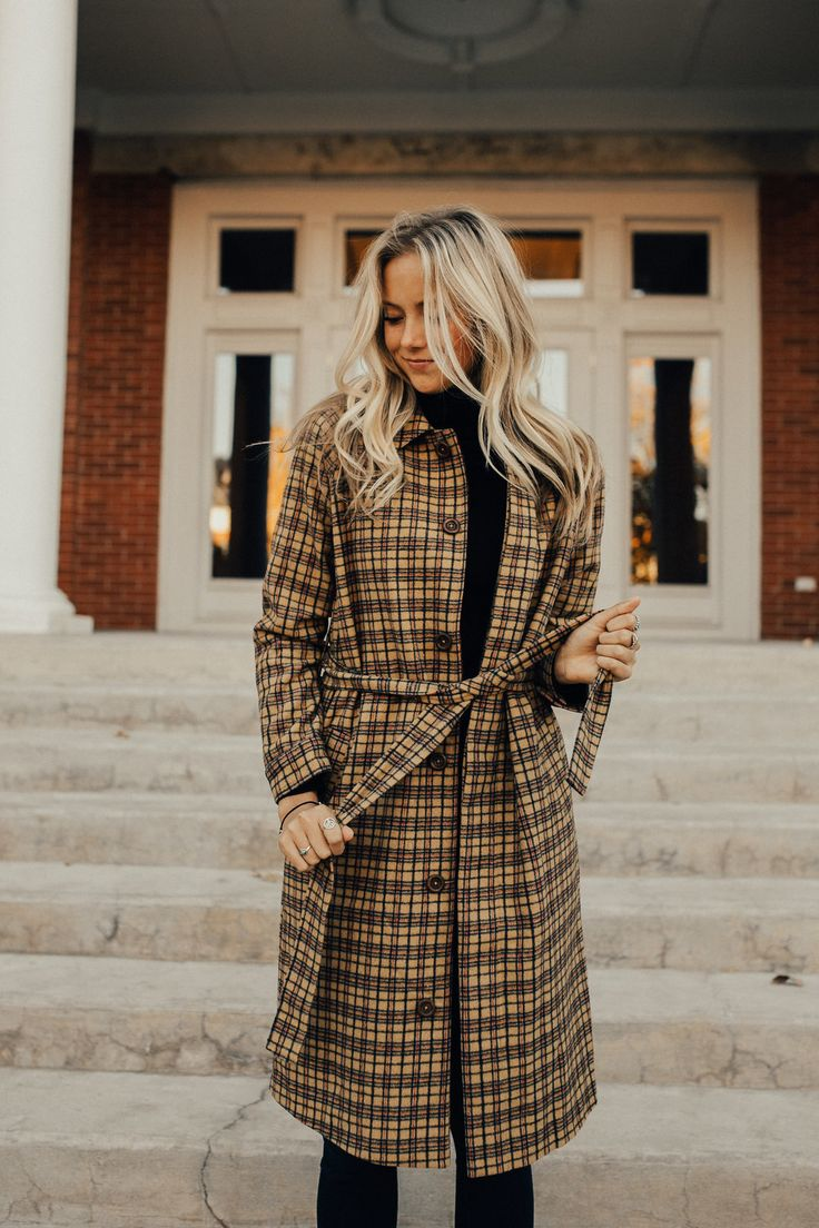 Yellow Plaid Long Overcoat with Waist Tie | ROOLEE