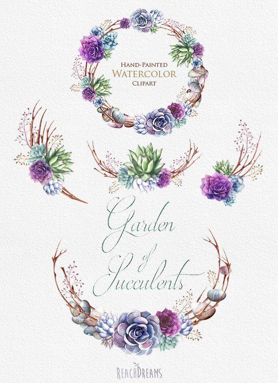 Invitación de la boda. Guirnalda de plantas por ReachDreams en Etsy