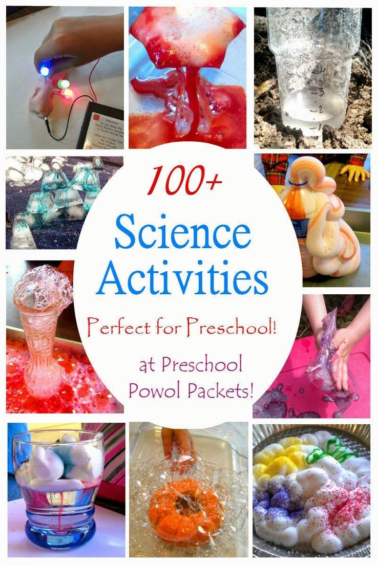 This is a fantastic collection of over 100 science activities for kids! Perfect for preschoolers!! The activities are even sorted by subject (physics, chemistry, biology, space, etc)!