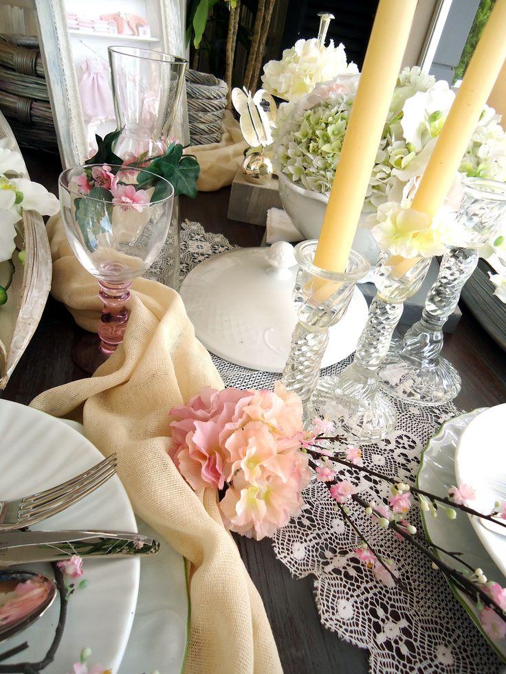 Shabby chic wedding table settings