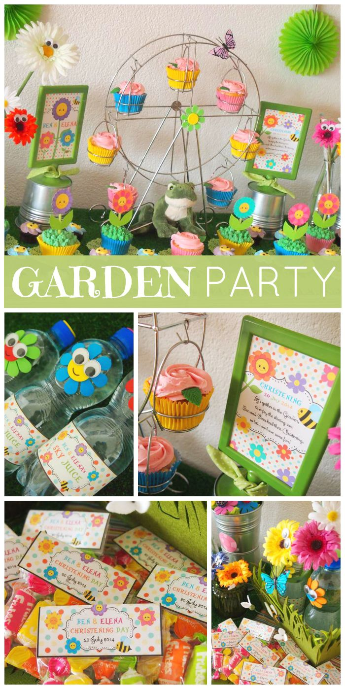 A adorable Flower Garden Christening party with bumble bees, flowers and cupcakes!  See more party planning ideas at CatchMyParty.com!