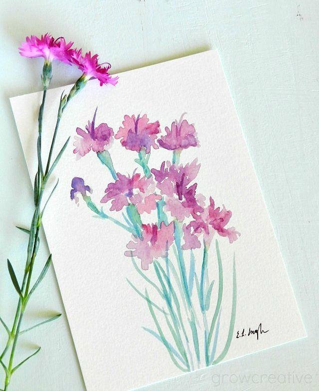 Original Watercolor Dianthus Flower Paintings by Elise Engh of Grow Creative.