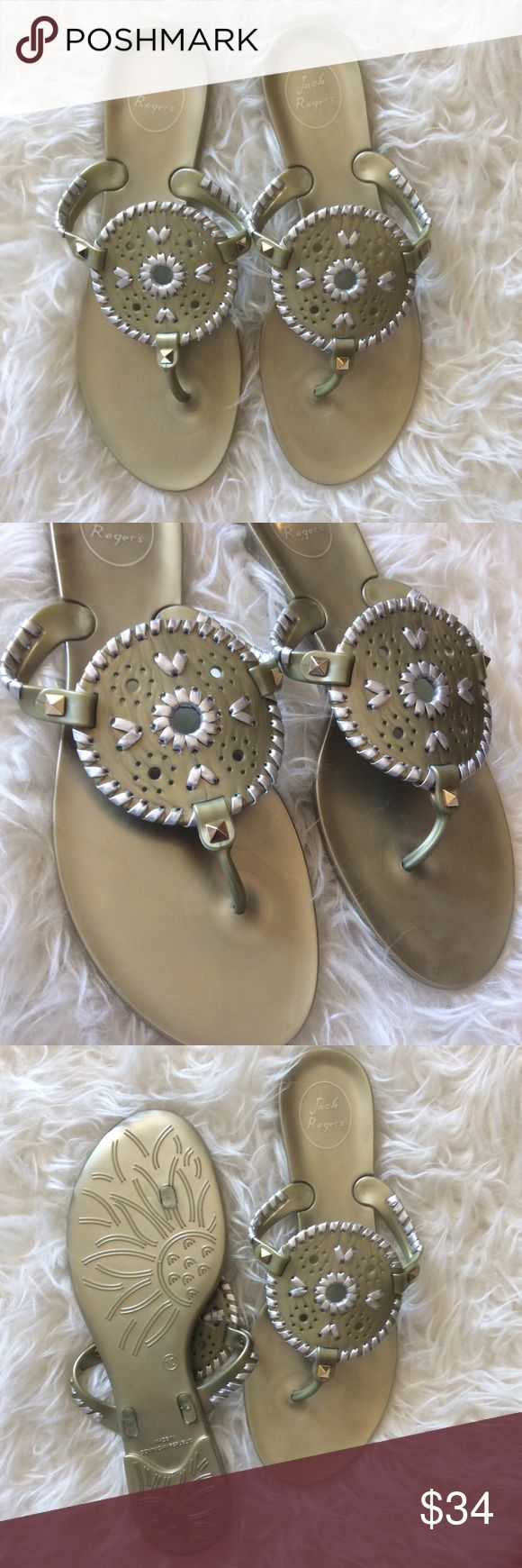 Jack Rogers Georgica Jelly Thong Sandals Excellent, new without tags Jack Rogers Georgica Jelly Thong Sandals. Size 10. Platinum/Silver. Pyramid studs are gold, trim is silver. No trades, offers welcome. Jack Rogers Shoes Sandals