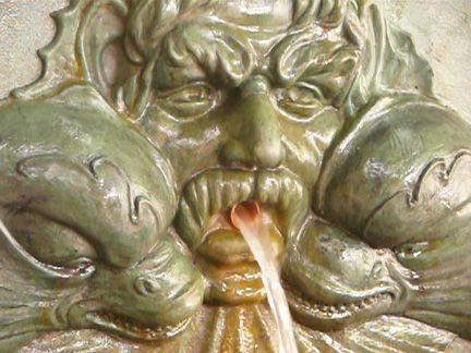 Reactive stain GFRC fountain spout .