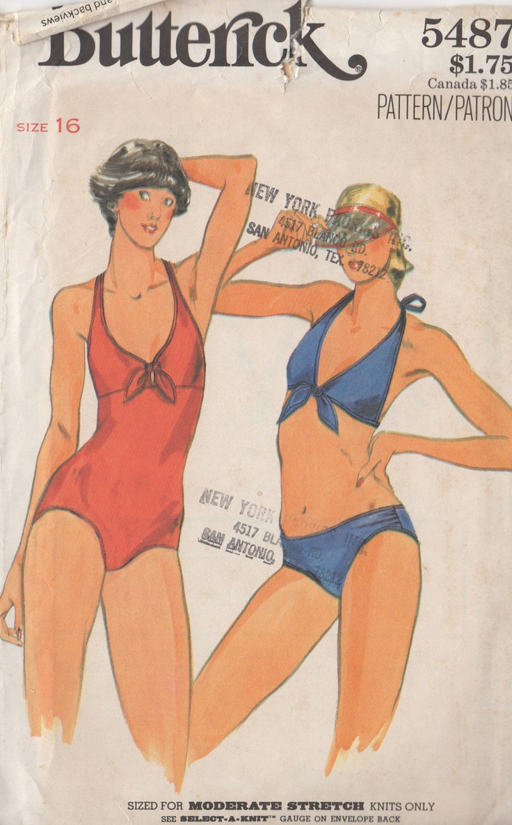 Vintage Butterick 5487 Bathing Suit Sewing Pattern 1970's. $7.99, via Etsy.