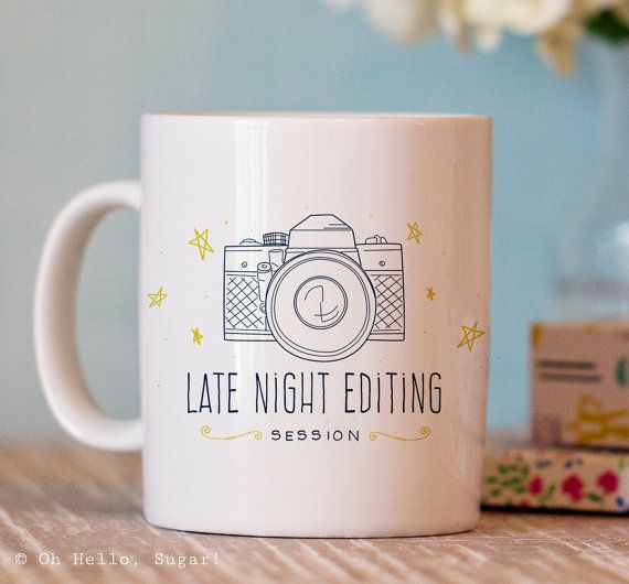 This popular photography coffee mug is the perfect gift for the photography lover! What photographer hasnt needed an extra boost of caffeine while editing? Buy as a gift or treat yourself to a camera photographer mug! - design on the front and back - microwave and dishwasher safe -