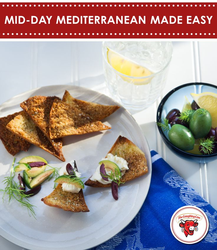 Feel like going Greek? Simply top a pita cracker with The Laughing Cow Creamy Original Swiss, sliced olives and dill for an afternoon snack. Opa, indeed