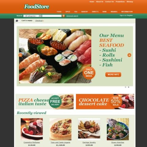 Food Store CS-Cart Template is specially designed for Grocery Store. There are Bakery, Vegetables, Meat, Seafood, Pizza and Pasta, Desserts and other. Garmonical colors combination of black, green and orange is the Best decorate for our products. It is very nice with its clean and professional look.