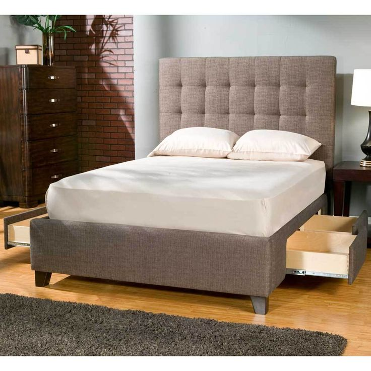 Manhattan upholstered storage bed by seahawk designs for Upholstered bed with drawers