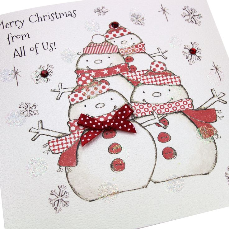 Handmade Luxury Christmas Card Red Polka Dot Bow Gems Snowmen Glittered Embossed - 'Merry Christmas from all of Us!'
