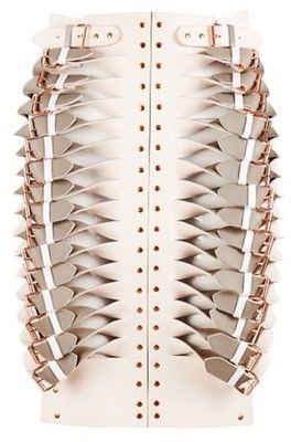 Leather buckle skirt with cut & twist structure; artful fabric manipulation; creative fashion detail // Marina Hoermanseder