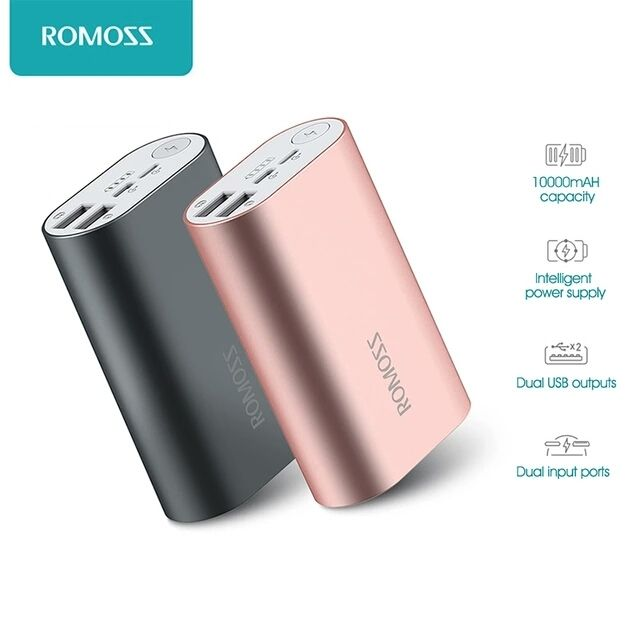 ROMOSS ACE 10000mAh Dual USB Outputs Aluminum Alloy External Battery Pack Power Bank    Main Features:  – 10000mAh big capacity provides your devices enough power.  – Two USB outputs are enabled to transmit power to 2 devices simultaneously, saving your time.  – Protection for overcharge, overvoltage, overcurrent and short circuit.  – The battery has passed the MSDS ( Material Safety Data Sheet ).    Parameters:  – Capacity: 10000mAh  – Input: 5V / 2.1A  – Output: 5V / 1A 5V / 2.1A  –…
