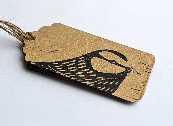 Lino Printed Blue Tit Bird Gift Tags - Set of 3