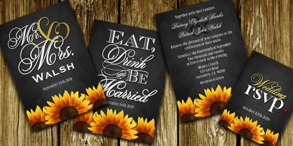 Black Chalkboard Sunflower Wedding Invitations - Mr. & Mrs. or Eat Drink and Be Married Suites with Matching RSVP Cards - found here: http://www.zazzle.com/natureprints/gifts?cg=196772902984930088