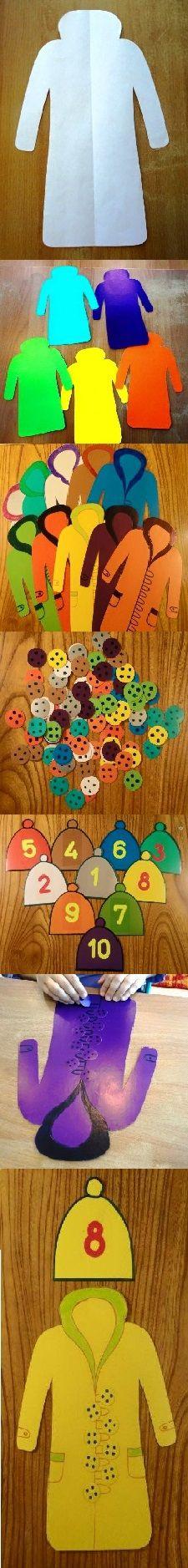 Дидактическая игра по математике «Пришей» пуговицы к пальто»  Игра проводится, как индивидуально, так и с подгруппой детей. Играя, дети закрепляют счет в пределах 10, развивают умение распознавать цифры, закрепляют умение соотносить количество с числом, развивают умение соотносить предметы по цвету. Игра способствует развитию мелкой моторики, развитию внимания и логического мышления.